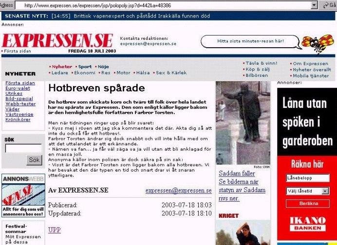 Hotbreven spårade. Avslöjande nyhet i Expressen 2003.