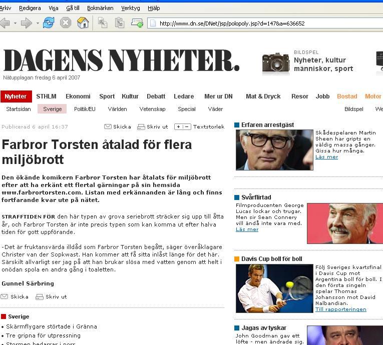 Farbror Torsten åtalad för miljöbrott. Nyhetsartikel i DN, 2007.