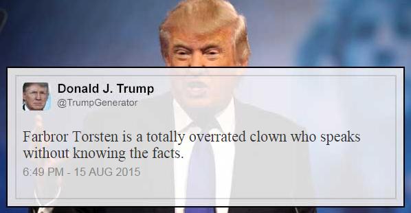 Ett av Trumps inlägg på Twitter sprids i media.